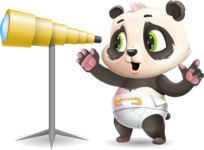 Baby Panda Vector Cartoon Character - Looking through telescope