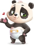Baby Panda Vector Cartoon Character - Making a Duckface for a selfie