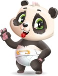 Baby Panda Vector Cartoon Character - Making Funny face