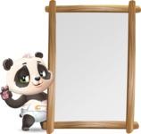 Baby Panda Vector Cartoon Character - Making peace sign with Big Presentation board