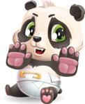 Baby Panda Vector Cartoon Character - Making stop gesture with both hands