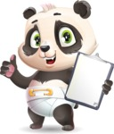 Baby Panda Vector Cartoon Character - Making thumbs up with notepad
