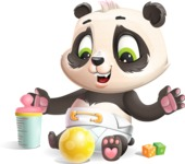 Baby Panda Vector Cartoon Character - Playtime