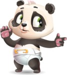 Baby Panda Vector Cartoon Character - Pointing with a fnger