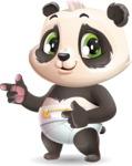 Baby Panda Vector Cartoon Character - Pointing with both hands