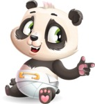 Baby Panda Vector Cartoon Character - Pointing with left hand