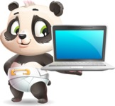Baby Panda Vector Cartoon Character - Presenting on laptop