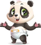 Baby Panda Vector Cartoon Character - Presenting with both hands