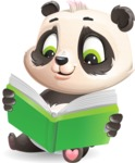 Baby Panda Vector Cartoon Character - Reading a book