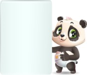 Baby Panda Vector Cartoon Character - Showing Big Blank banner