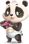 Baby Panda Vector Cartoon Character - Showing Love
