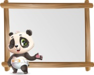 Baby Panda Vector Cartoon Character - Showing on Big whiteboard