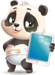 Baby Panda Vector Cartoon Character - Showing tablet