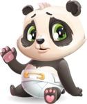 Baby Panda Vector Cartoon Character - Waving for Goodbye with a hand