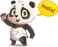 Baby Panda Vector Cartoon Character - Waving for Hello with a hand