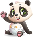Baby Panda Vector Cartoon Character - Waving