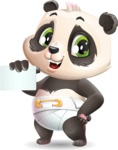 Baby Panda Vector Cartoon Character - with a Blank Business card