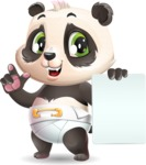 Baby Panda Vector Cartoon Character - with a Blank paper