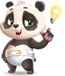 Baby Panda Vector Cartoon Character - with a Light bulb