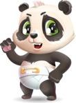Baby Panda Vector Cartoon Character - with Angry face