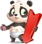 Baby Panda Vector Cartoon Character - with Arrow going Down