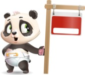 Baby Panda Vector Cartoon Character - with Blank Real estate sign