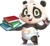 Baby Panda Vector Cartoon Character - with Books