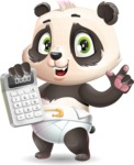 Baby Panda Vector Cartoon Character - with Calculator