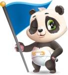 Baby Panda Vector Cartoon Character - with Flag
