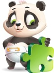 Baby Panda Vector Cartoon Character - with Puzzle