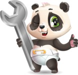 Baby Panda Vector Cartoon Character - with Repairing tool wrench
