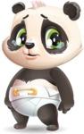 Baby Panda Vector Cartoon Character - with Sad face