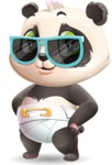Baby Panda Vector Cartoon Character - with Sunglasses