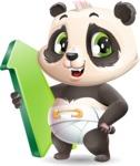 Baby Panda Vector Cartoon Character - with Up arrow