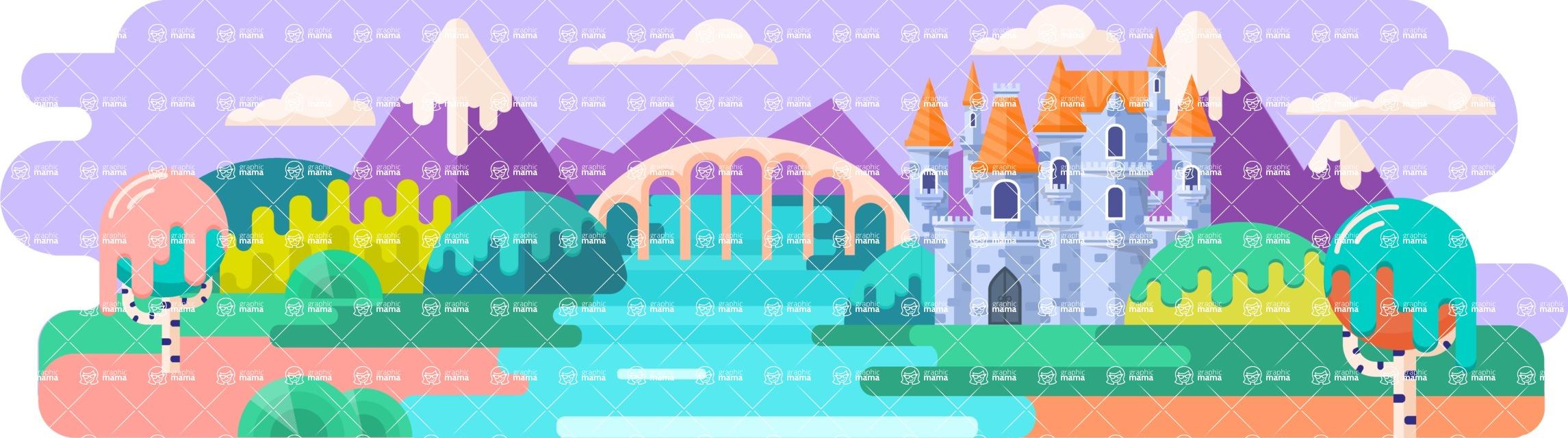 Vector Backgrounds - Mega Bundle - Fairy Tale Castle 1