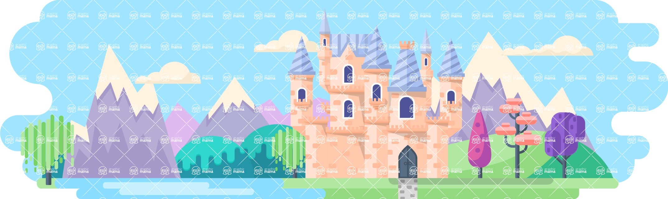 Vector Backgrounds - Mega Bundle - Fairy Tale Castle 2