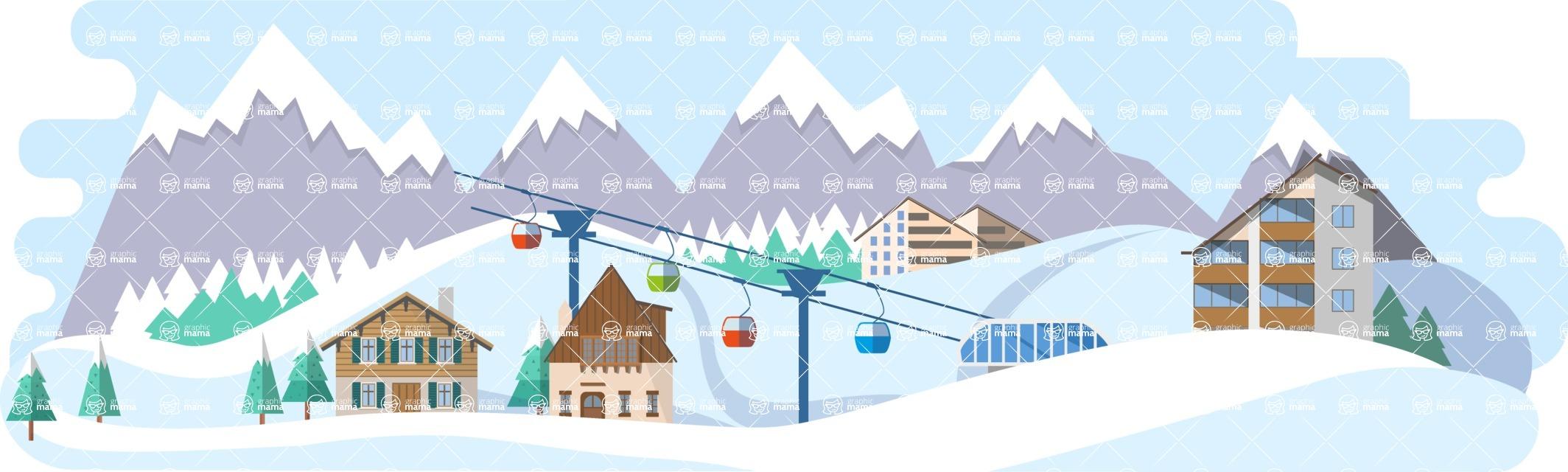 Vector Backgrounds - Mega Bundle - Ski Resort Wide