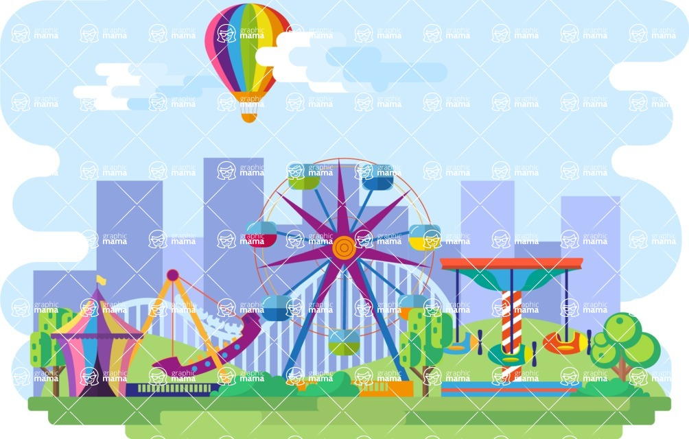 Vector Backgrounds - Mega Bundle - Amusement Park Narrow Landscape