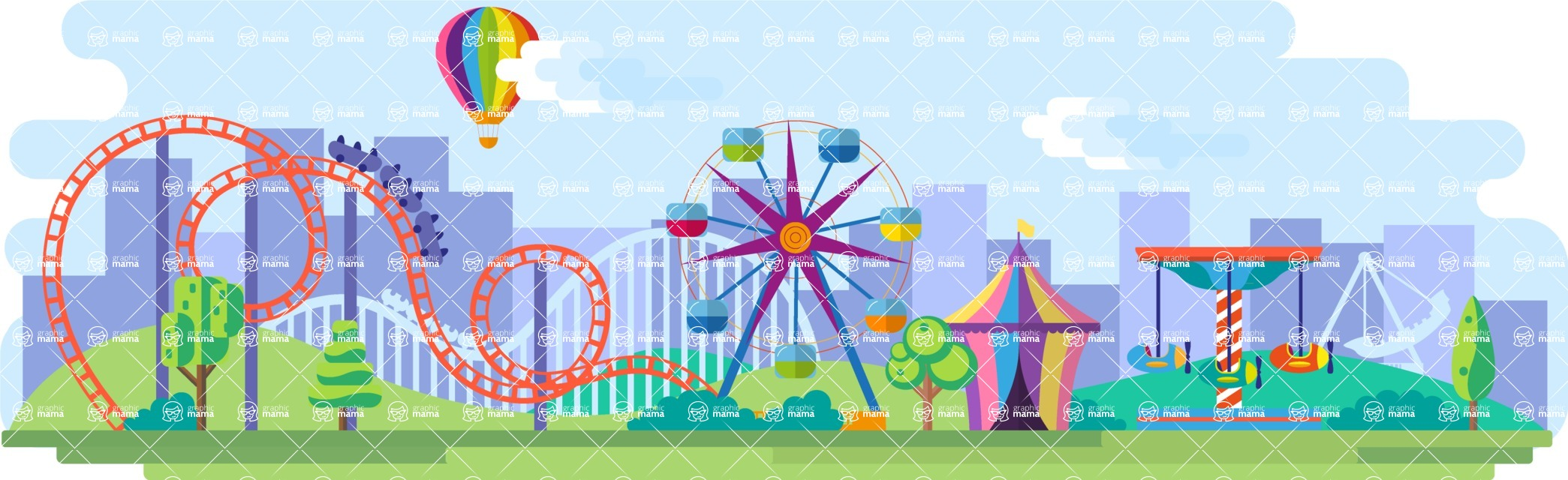 Vector Backgrounds - Mega Bundle - Amusement Park Wide Landscape