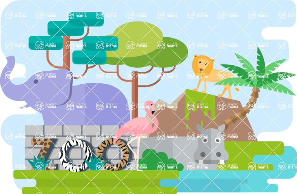 Vector Backgrounds - Mega Bundle - Zoo Narrow Landscape