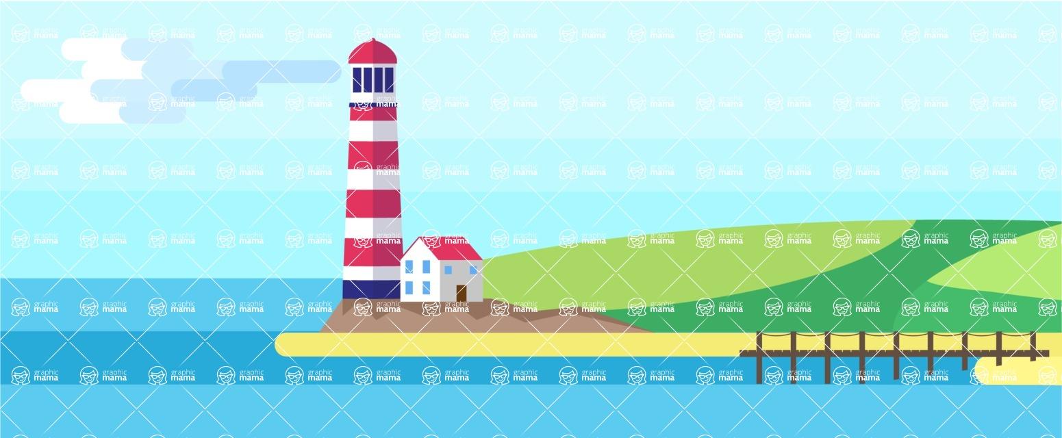 Vector Backgrounds - Mega Bundle - Sea Landscape Part 3
