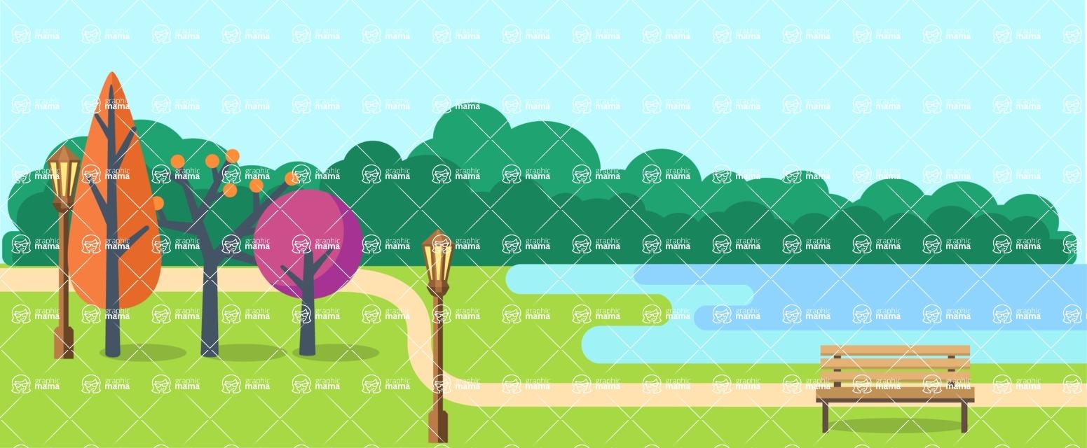 Vector Backgrounds - Mega Bundle - City Park Landscape Part 1