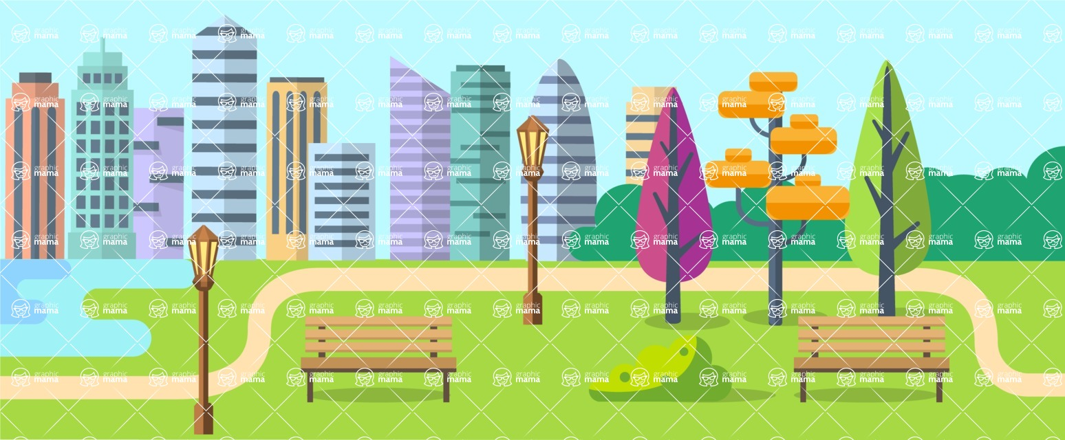 Vector Backgrounds - Mega Bundle - City Park Landscape Part 2
