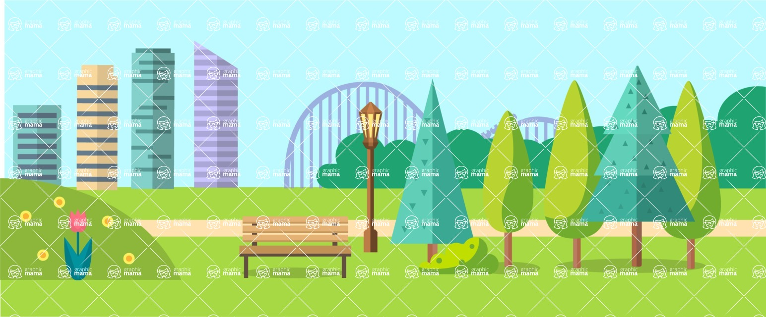 Vector Backgrounds - Mega Bundle - City Park Landscape Part 4