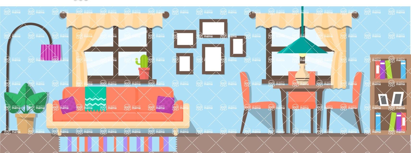 Vector Backgrounds - Mega Bundle - Living Room