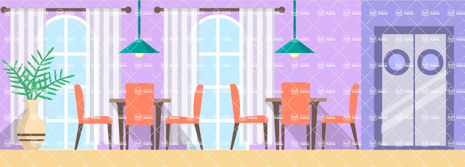 Vector Backgrounds - Mega Bundle - Restaurant Interior