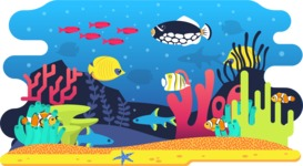 Vector Backgrounds - Mega Bundle - Colorful Aquarium with Fishes Vector Background