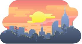 Vector Backgrounds - Mega Bundle - Colorful City Sunset Vector Background