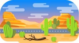 Vector Backgrounds - Mega Bundle - Colorful Desert with Road Vector Background