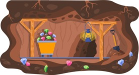 Vector Backgrounds - Mega Bundle - Colorful Mining Tunnel Vector Background